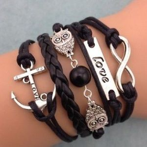 Jewelry - NEW! Leather Infinity Love Anchor Owl Bracelet